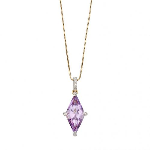 Amethyst and Diamonds  Gold Kite Pendant